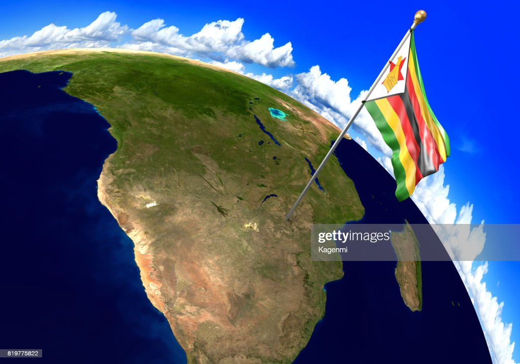 Zimbabwe national flag marking the country location on world map 3d zimbabwe national flag marking the country location on world map 3d rendering parts of gumiabroncs Images
