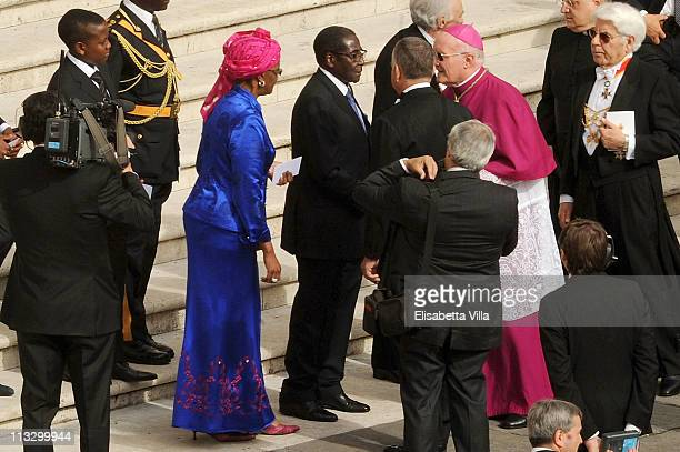 Zimbabwe President Robert Mugabe and his wife Grace arrive at the John Paul II Beatification Ceremony held by Pope Benedict XVI on May 1 2011 in...
