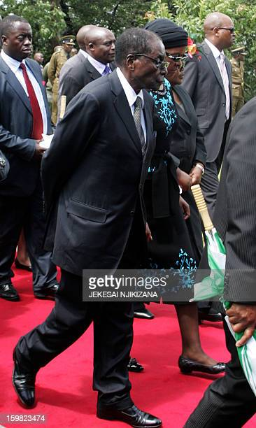 Zimbabwe President Robert Mugabe and the First Lady Grace Mugabe attend a funeral procession in honor of the late vicepresident John Landa Nkomo...