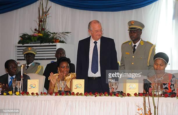 Zimbabwe President Robert Mugabe Congolese First Lady Olive Kabila King Albert II of Belgium and wife of King Mswati III of Swaziland attend a gala...