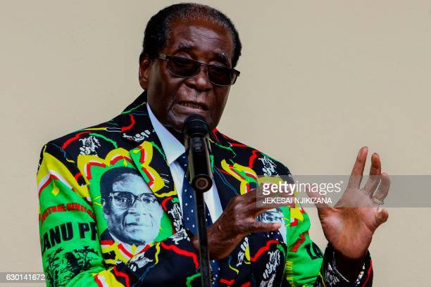 Zimbabwe President Robert Mugabe speaks at the party's annual conference on December 17 2016 in Masvingo Zimbabwe's ruling ZANUPF party's congress...