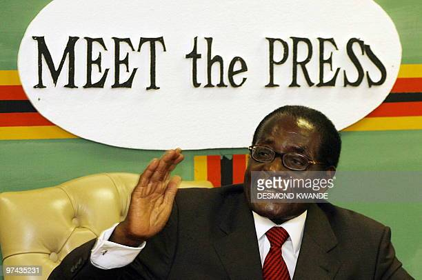 Zimbabwe President Rorbet Mugabe speaks at a rare meeting with journalists at Zimbabwe house in Harare on March 42010 where he expressed confidence...