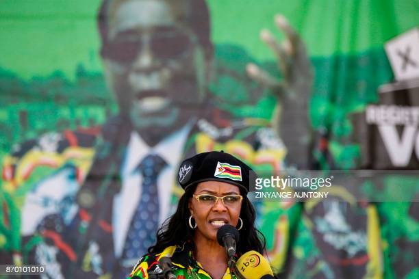 Zimbabwe President's wife Grace Mugabe delivers a speech during the Zimbabwe ruling party Zimbabwe African National Union Patriotic Front youth...