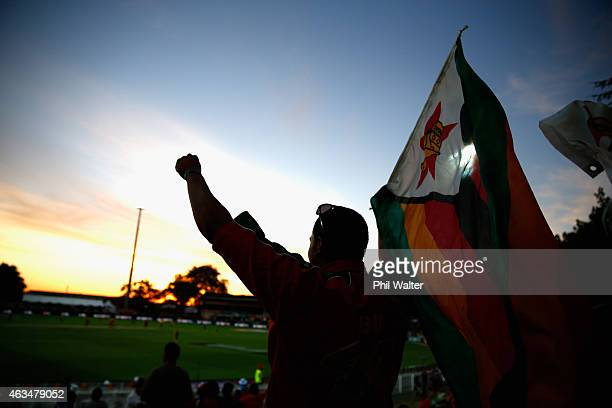 Zimbabwe supporters during the 2015 ICC Cricket World Cup match between South Africa and Zimbabwe at Seddon Park on February 15 2015 in Hamilton New...