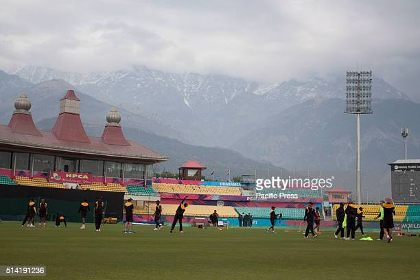 Zimbabwe team practice before the practice match against Ireland at Dharamshala ahead of ICC t20 world cup at Dharamshala Zimbabwe won the match by 6...