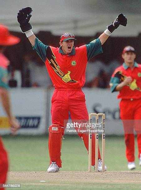 Zimbabwe wicketkeeper and captain Andy Flower appeals for a wicket during a One Day International between Zimbabwe and England at Bulawayo ZImbabwe...