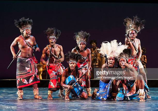 Zimbabwean dancers of Umkhathi Theatre Works perform the hunting and gathering dance 'Chinyambere' at DanceAfrica 2013 in the Brooklyn Academy of...