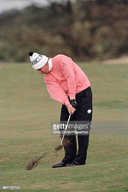 Zimbabwean golfer Nick Price pictured in action during competition for the Zimbabwe team in the 1994 Dunhill Cup golf tournament at the Old Course at...