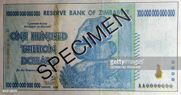A Zimbabwean government daily newspaper shows the newly unveiled hundred trillion dollar note on January 16 2009 as the country battles with...