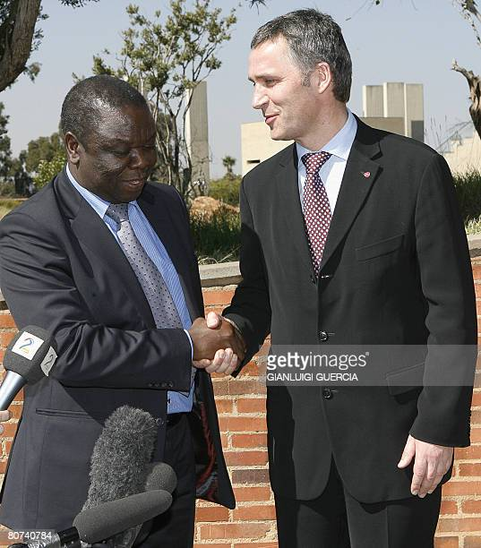 Zimbabwean Movement for Democratic Change president Morgan Tsvangirai shakes hands with Norwegian Prime Minister Jens Stoltenberg on April 18 2008...