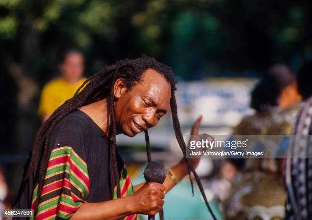Zimbabwean musician Thomas Mapfumo and his band The Blacks Unlimited perform the Chimurenga music of Zimbabwean protest and struggle during a...