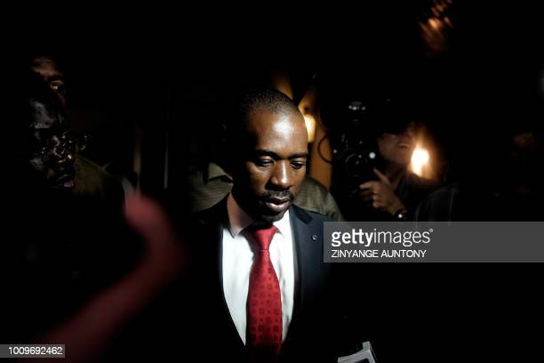 TOPSHOT Zimbabwean opposition party Movement for Democratic Change Alliance president Nelson Chamisa speaks to the press after a press conference in...