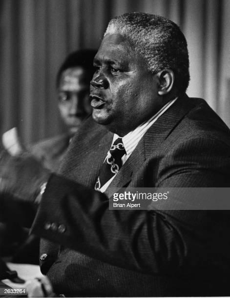 Zimbabwean politician Joshua Nkomo at a United Nations press conference Original Publication People Disc HH0363