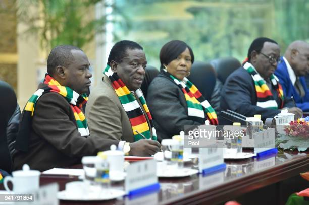 Zimbabwean President Emmerson Mnangagwa during a meeting with Chinese Premier Li Keqiang at the Great Hall of the People on April 4 2018 in Beijing...