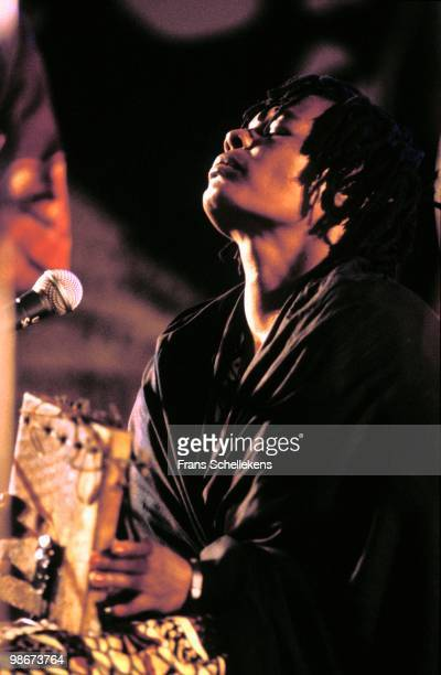 Zimbabwean singer Stella Chiweshe performs live on stage at the Africa Festival in Delft, Holland on June 10 1991