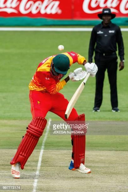Zimbabwe's batsman Blessing Muzarabani ducks under a short ball during the first one day international cricket match between Pakistan and Zimbabwe at...