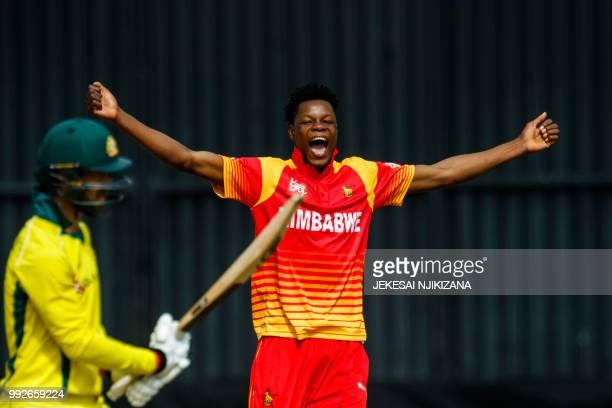 Zimbabwe's bowler Blessing Muzarabani celebrates dismissing Australia's batsman Glenn Maxwell during the sixth T20 cricket match between Australia...