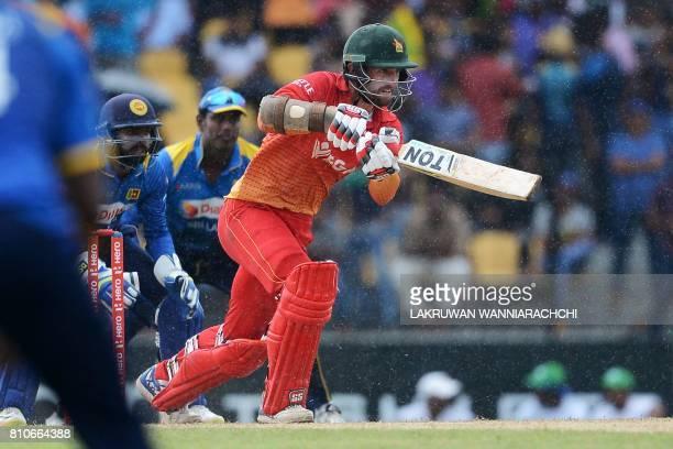 Zimbabwe's cricketer Craig Ervine plays a shot during the fourth oneday international cricket match between Sri Lanka and Zimbabwe at the Suriyawewa...