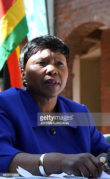 Zimbabwe's Environment Minister Oppah Muchinguri holds a press conference on July 31 2015 in Harare where she appealled to US authorities to...