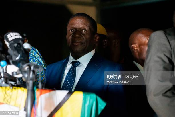 Zimbabwe's incoming president Emmerson Mnangagwa speaks to supporters at Zimbabwe's ruling ZanuPF party headquarters in Harare on November 22 2017...