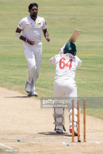 Zimbabwe's Kevin Kasuza is bowled by Sri Lanka's Suranga Lakmal during the first day of the second Test cricket match between Zimbabwe and Sri Lanka...