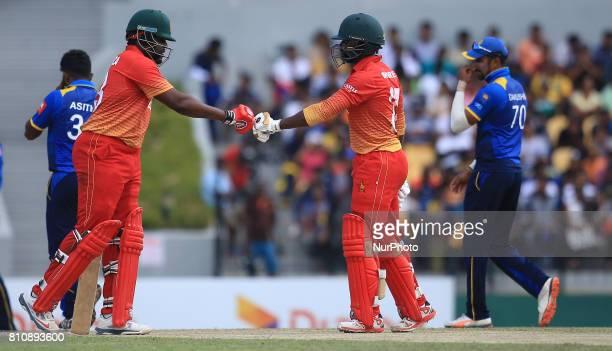 Zimbabwe's opening batsmen Hamilton Masakadza and Solomon Mire during the 4th One Day International cricket matcth between Sri Lanka and Zimbabwe at...