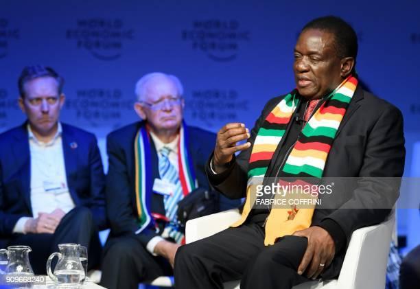 Zimbabwe's President Emmerson Mnangagwa attends the annual World Economic Forum on January 24 2018 in Davos eastern Switzerland Zimbabwe's new...