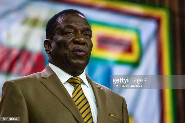 Zimbabwe's President Emmerson Mnangagwa delivers a speech during the opening of the 107th annual conference of the ZanuPF Central Committee at the...