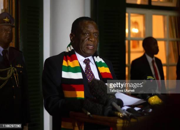 Zimbabwe's president Emmerson Mnangagwa holds a press conference at State House:on September 6, 2019 in Harare, Zimbabwe. The current President of...