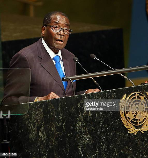 Zimbabwe's President Robert Mugabe speaks at the United Nations General Assembly on September 28 2015 in New York City The ongoing war in Syria and...
