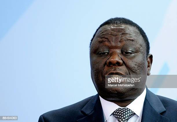 Zimbabwe's Prime Minister Morgan Tsvangirai addresses a press conference after talks in the chancellery on June 15 2009 in Berlin Germany Tsvangirai...