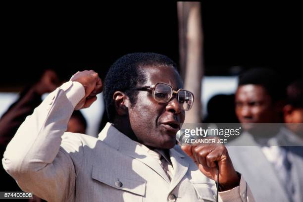 Zimbabwe's Prime Minister Robert Mugabe addresses the crowd in July 1984 in Harare stadium during a political meeting Mugabe Zimbabwean first Premier...