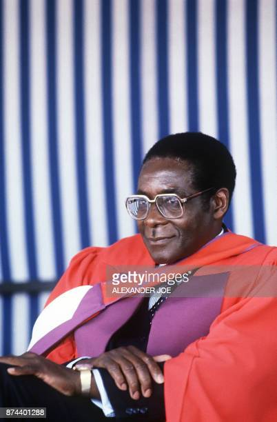 Zimbabwe's Prime Minister Robert Mugabe looks on after being awarded Doctor Honoris Causa at the University of Harare Mugabe Zimbabwean first Premier...