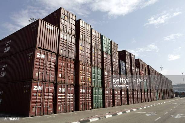 Zimbranded shipping containers stand on the quay at the Port of Haifa in Haifa Israel on Sunday Nov 13 2011 Turkey bought 3 percent of all Israel's...