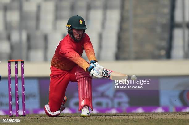 Zimbsbwe cricketer Brendan Taylor plays a shot during the second One Day International cricket match in the TriNations Series between Sri Lanka and...