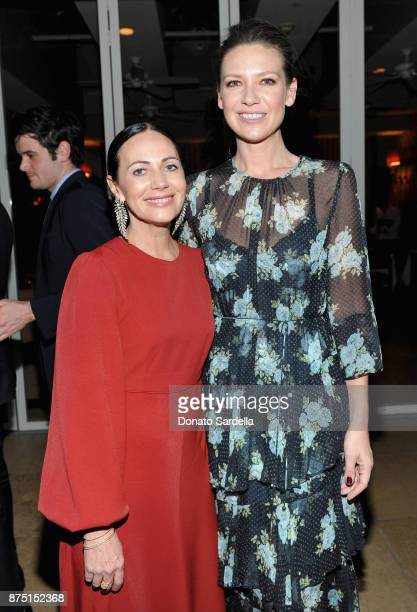 Zimmermann Founder/designer Nicky Zimmermann and Anna Torv at Zimmermann Los Angeles Dinner at Sunset Tower on November 16 2017 in West Hollywood...