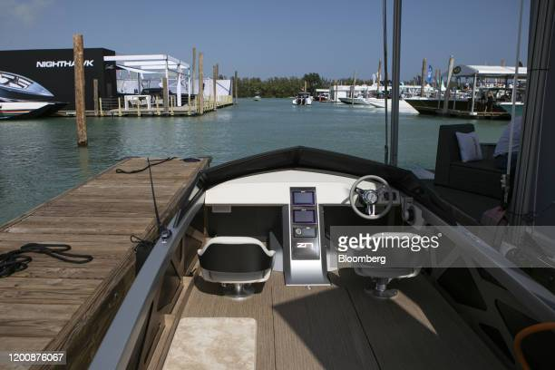 Zin Boats Z2R electric speedboat is displayed at the Miami International Boat Show in Miami, Florida, U.S., on Thursday, Feb. 13, 2020. The five day...