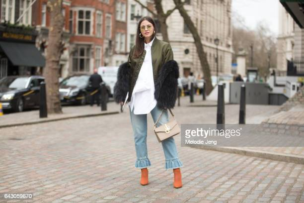 Zina Charkoplia on day 3 of the London Fashion Week February 2017 collections on February 19 2017 in London England