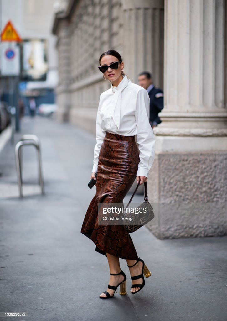 Street Style: September 22 - Milan Fashion Week Spring/Summer 2019 : News Photo