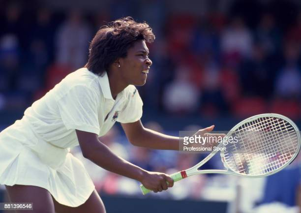 Zina Garrison of the USA during the Pilkington Glass Tennis Championships at Devonshire Park circa June 1988 in Eastbourne England