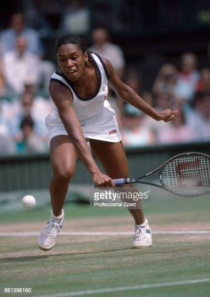 Zina Garrison of the USA in action against Martina Navratilova of the USA during their Women's Singles SemiFinal match in the Wimbledon Lawn Tennis...