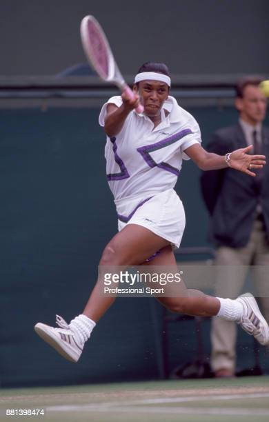 Zina Garrison of the USA in action during the Wimbledon Lawn Tennis Championships at the All England Lawn Tennis and Croquet Club circa June 1990 in...