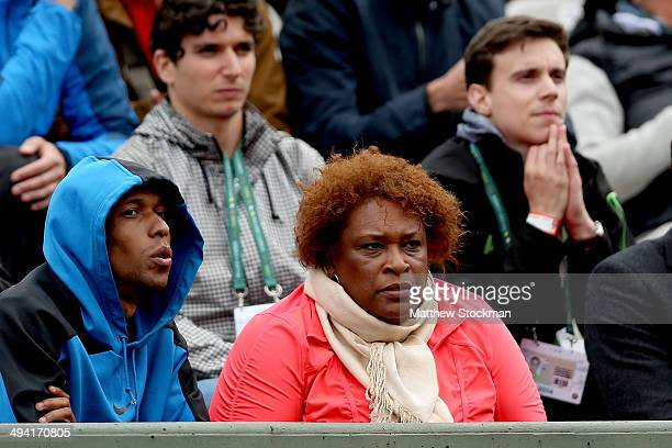 Zina Garrison the coach of Taylor Townsend of the United States watches her women's singles match against Alize Cornet of France on day four of the...