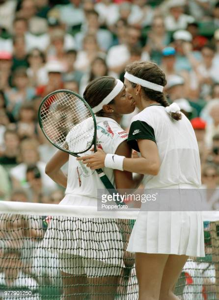 Zina GarrisonJackson of the United States and Mary Joe Fernandez of the United States embrace after the Ladies Singles third round on day six of the...