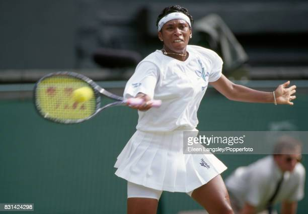 Zina GarrisonJackson of the USA in action during a women's singles match at the Wimbledon Lawn Tennis Championships in London circa July 1994...
