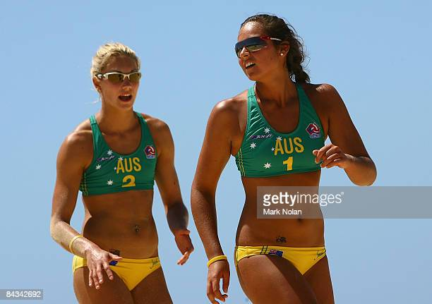 Zina Stone and Mariafe Artacho of Australia are pictured in the gold medal play off during the Beach Volleyball on day five of the Australian Youth...