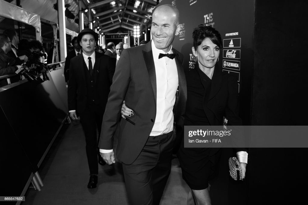 Zinadine Zidane and his wife Veronique Zidane arrives on the green carpet for The Best FIFA Football Awards at The London Palladium on October 23, 2017 in London, England.