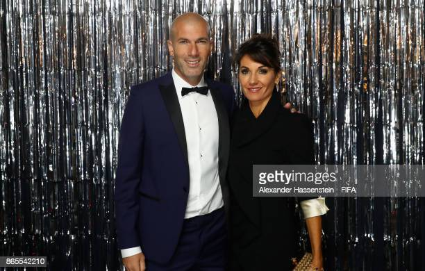 Zinadine Zidane and is wife Veronique Zidane are pictured inside the photo booth prior to The Best FIFA Football Awards at The London Palladium on...