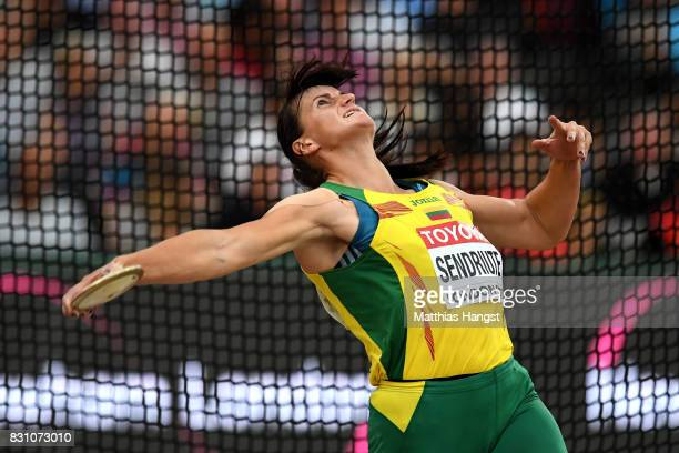 Zinaida Sendriute of Lithuania competes in the Women's Discus final during day ten of the 16th IAAF World Athletics Championships London 2017 at The...