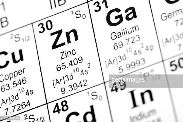 zinc and gallium elements - periodic table stock photos and pictures